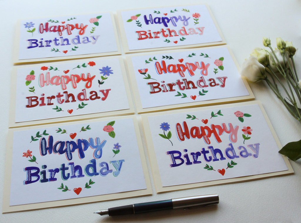 Hand painted original happy birthday greeting cards