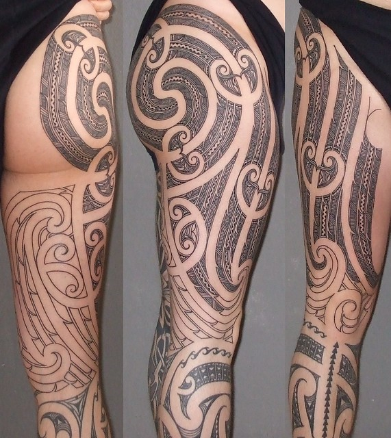 Maori Tattoo Upper Leg, After The 2nd Session