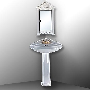 Corner White Mirror Cabinet On White Pedestal Corner Sink
