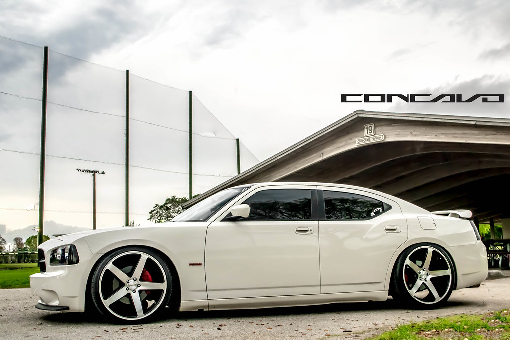 """Dodge Charger lowered on 22"""" CW-5 Matte Black Machined Fac ..."""