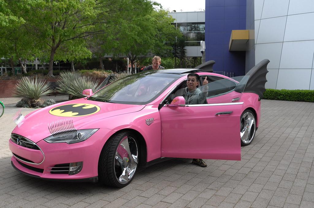 Google Co-founder Sergey Brin's Tesla Model S Pink Batmobi ...
