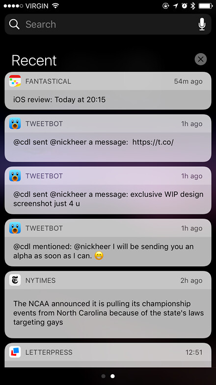 Notification Centre in iOS 10