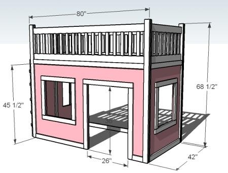You are here home home made playhouse loft bed home for Princess bed blueprints