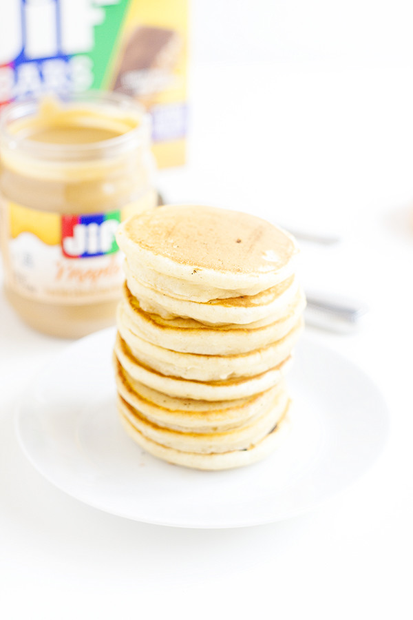 silver dollar pancakes with maple flavored jif sread