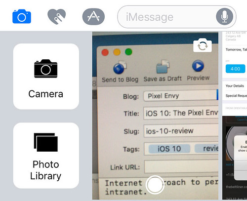 Messages media picker, buttons shown