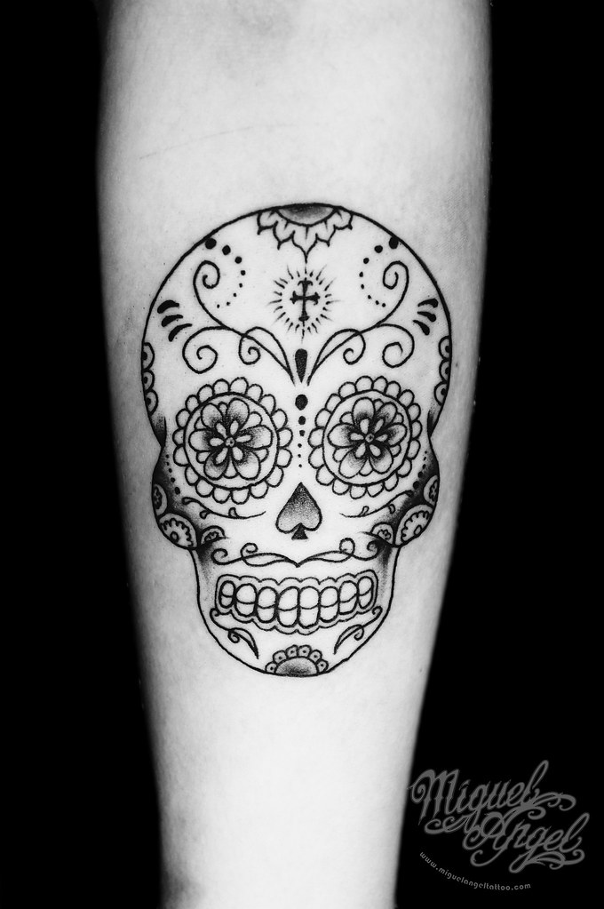 Sugar skull custom tattoo | Miguel Angel Custom Tattoo ...