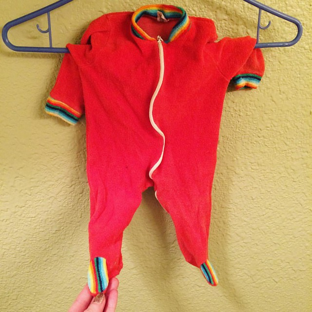 My cousin Erika gave me this vintage rainbow terrycloth sleeper. The tiny feet KILL ME. 🌈