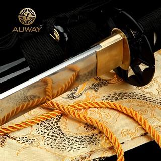 Auway-samurai-sword-Octagon-Tsuba-Black-scabbard-8