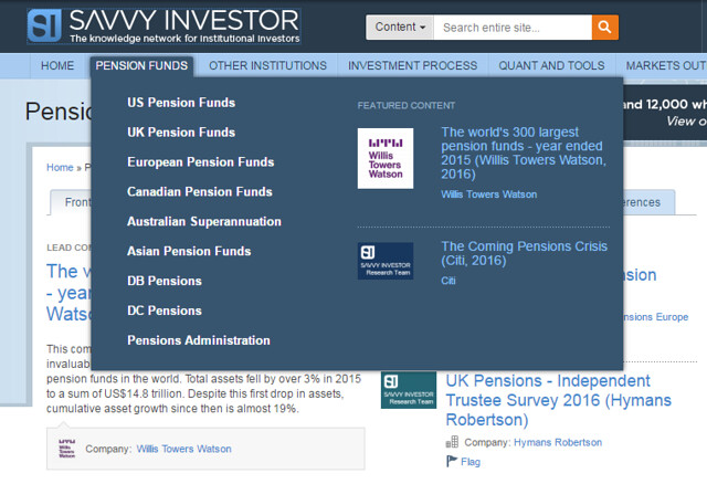 Pensions Page Savvy Investor World's largest pension funds