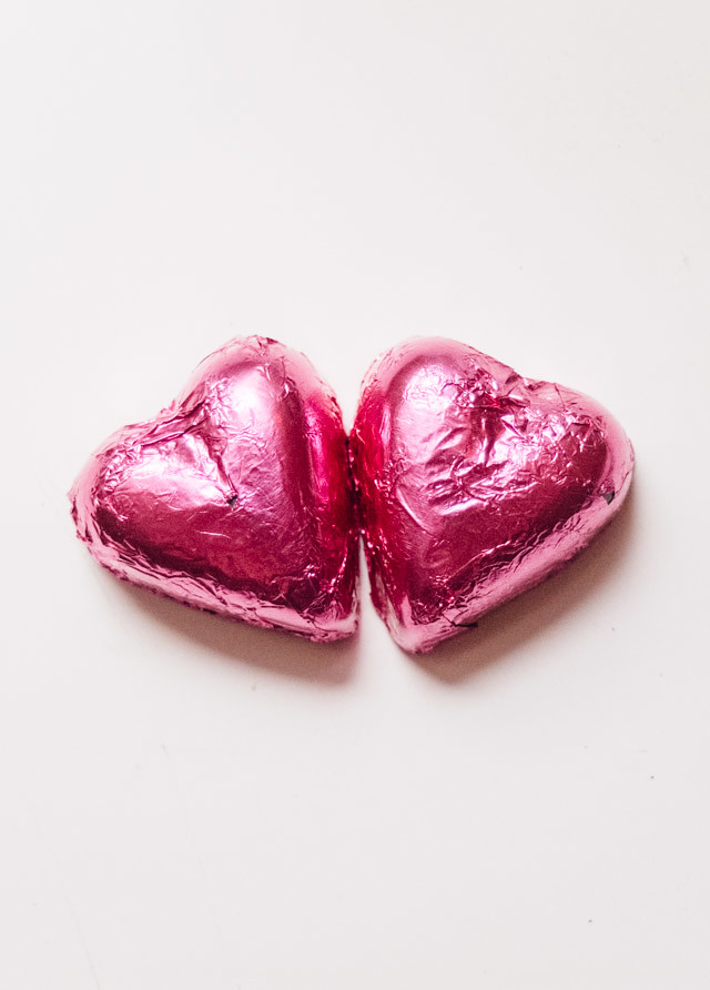pink heart shaped chocolates