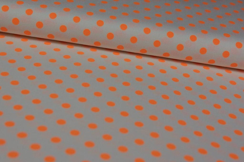 """Baumwollstoff """"Neo Dot"""", orange-weiß"""