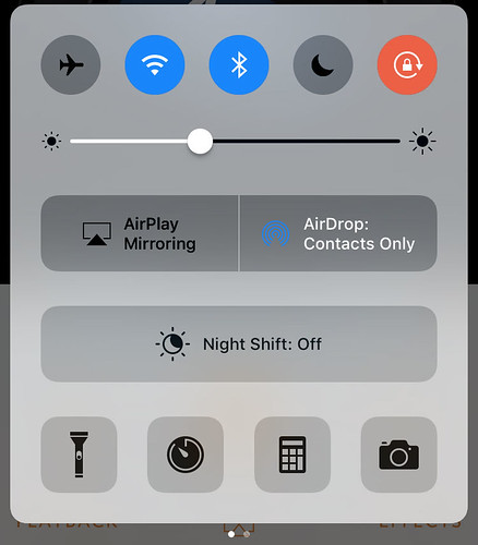 iOS 10 Control Centre page 1