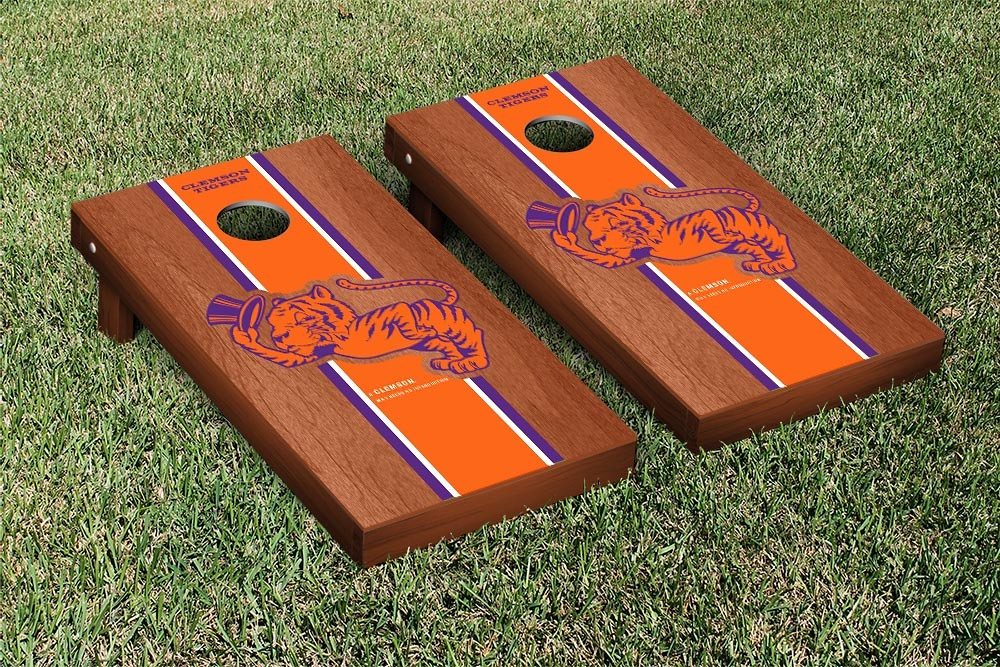 Clemson Tigers College Vault Cornhole Game Rosewood Stained Stripe Version