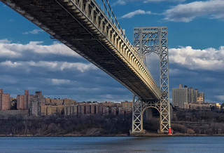 George Washington Bridge and the Little Red Light House | by Bob Jagendorf