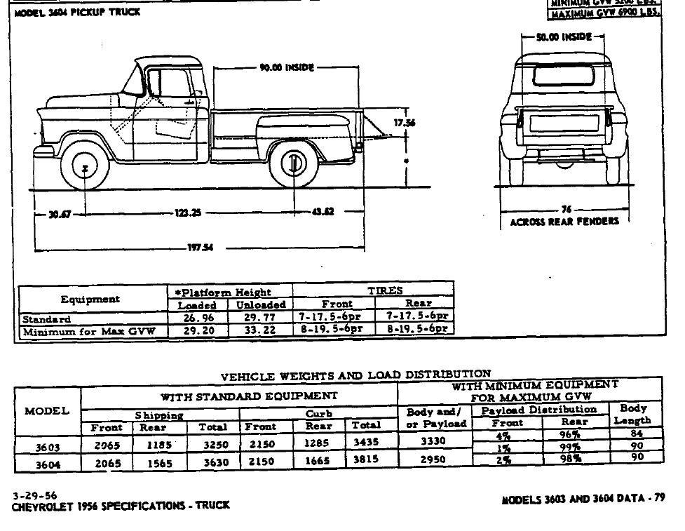 1956 Chevrolet 3600 Dimensions 1956 Chevrolet 3600