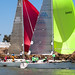 Dueling spinnakers in front of the Brothers Lighthouse