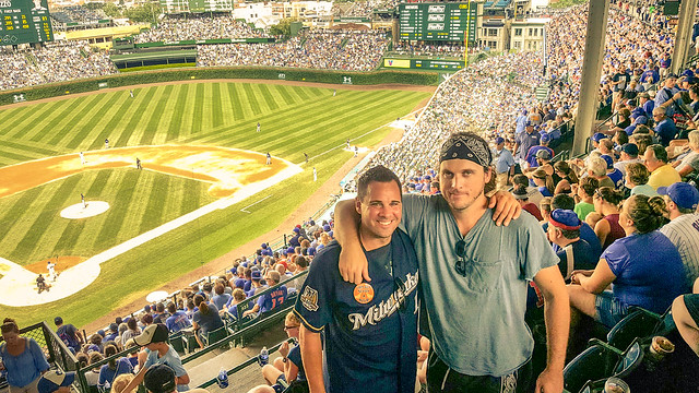 Cell Pic by Pirates Fan of 2 Brewers Fans at Wrigley Field
