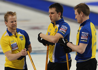 Victoria B.C.April 5,2013.Ford Men's World Curling Championship.Sweden skip Niklas Edin,second Fredrik Lindberg,lead Viktor Kjall.CCA/michael burns photo | by seasonofchampions