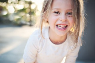 Cute 6 year old girl laughing