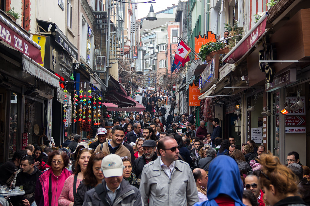 busy turkish streets istanbul turkey shot during a