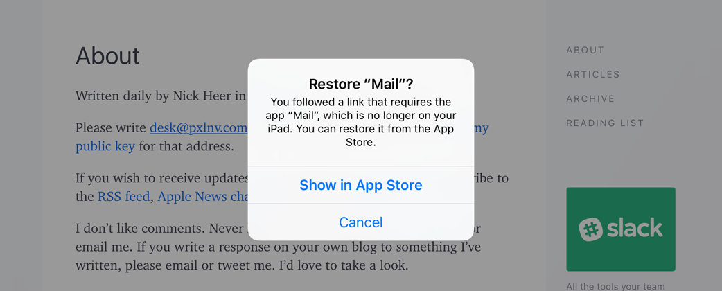 Mailto link handling on iOS when Mail is removed