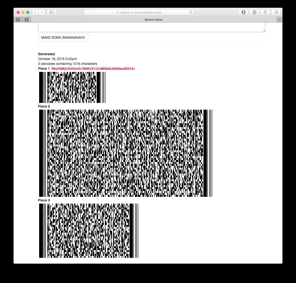 Screenshot of generated barcode set