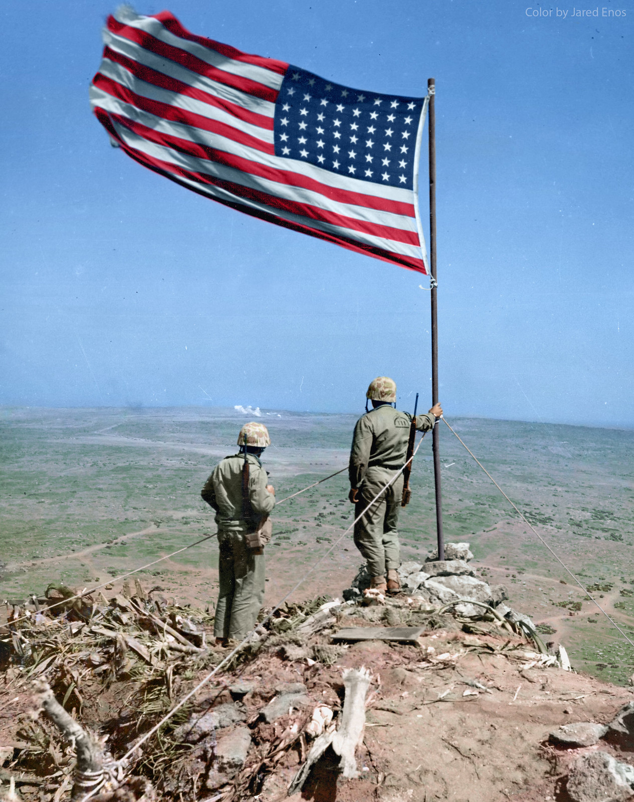 Two US Marines Look Over Iwo Jima From Atop Mt Suribachi Where Just Days Before The Flag Was Famously Risen February 25 1945