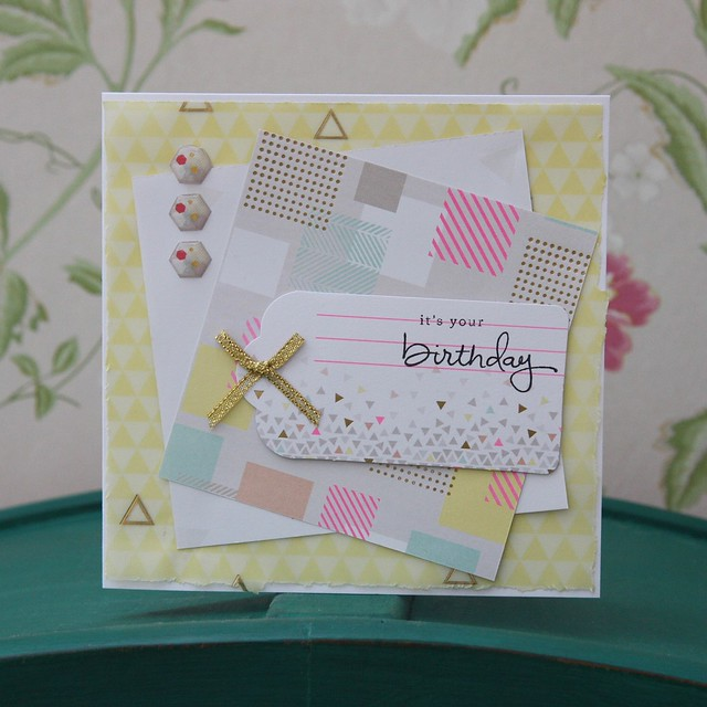 Geometric Neon birthday tag card by StickerKitten