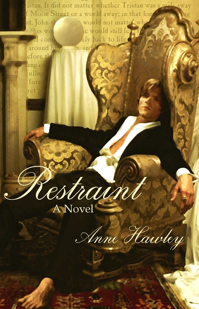 Working cover of Restraint, a photograph manipulated to look something like an oil painting, featuring Jared Padalecki's face on Johnny Depp's tuxedo-wearing body slouched in an enormous baroque brocade armchair, all in tones of red and gold