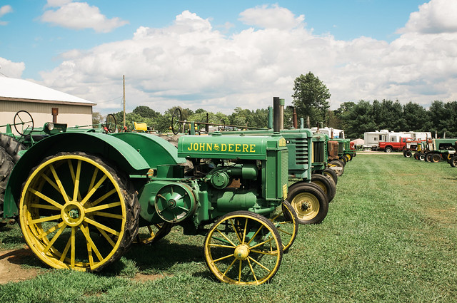 Vintage John Deer tractors.