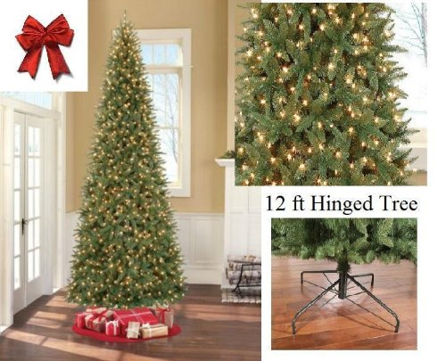 12 ' Ft Tall Artificial Slim Christmas Tree W/1100 Lights