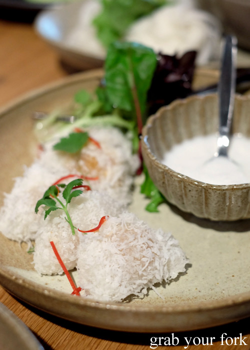 Steamed prawn and coconut dumplings at Chat Thai at Gateway Sydney in Circular Quay