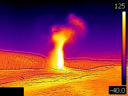 Thermal image of Old Faithful Geyser eruption (6:26 PM-onward, 10 August 2016) | by James St. John