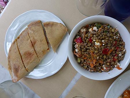Pita et salade de lentilles