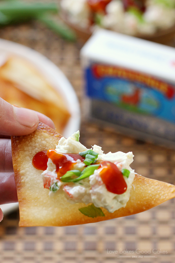 Crab Rangoon Dip with Wonton Chips in someone's hand.