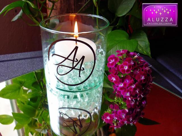 Cilindro de cristal con velas e hidrogel para complemento - Mesas de centro de cristal ...