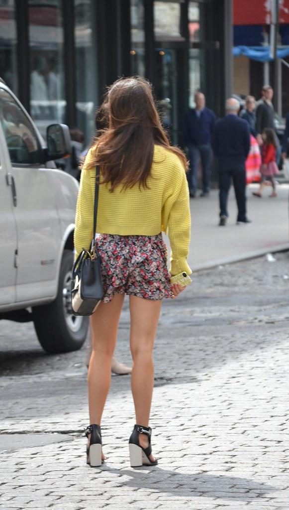 Street style girl in short flower dress yellow sweater ama flickr Fashion street style girl