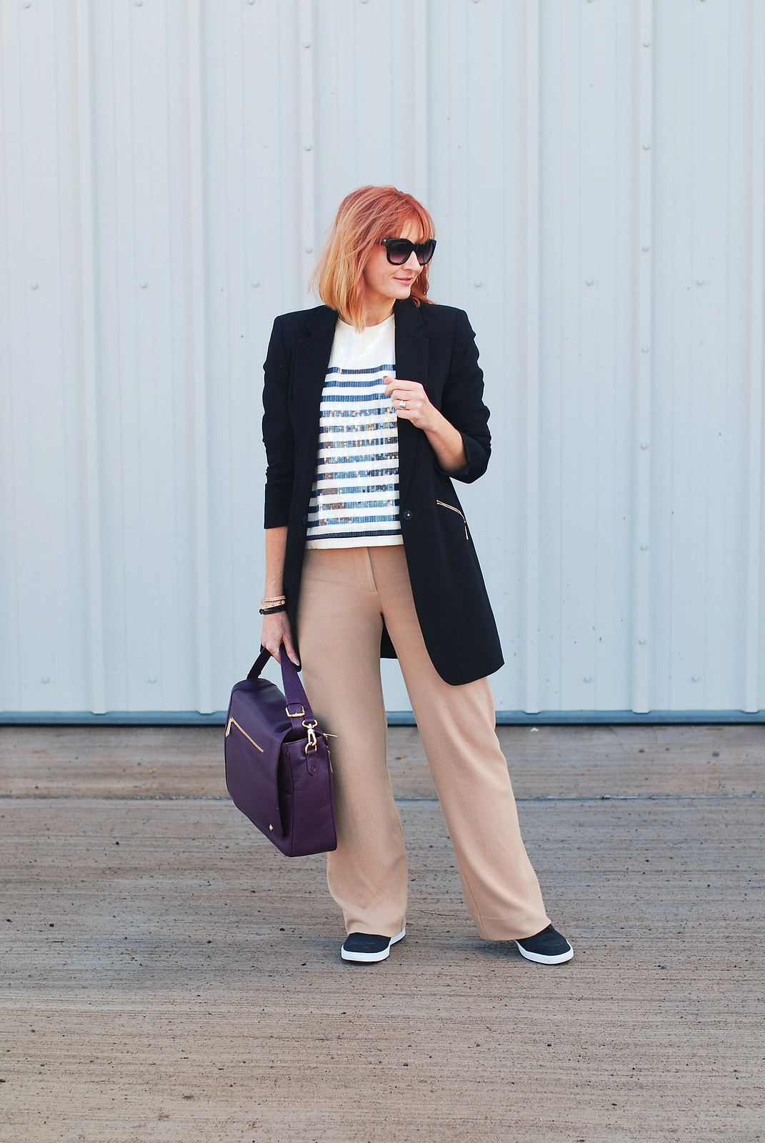 How to Style Sequins as Workwear: Sequinned Breton top, camel wide leg trousers, black blazer | Not Dressed As Lamb, over 40 style