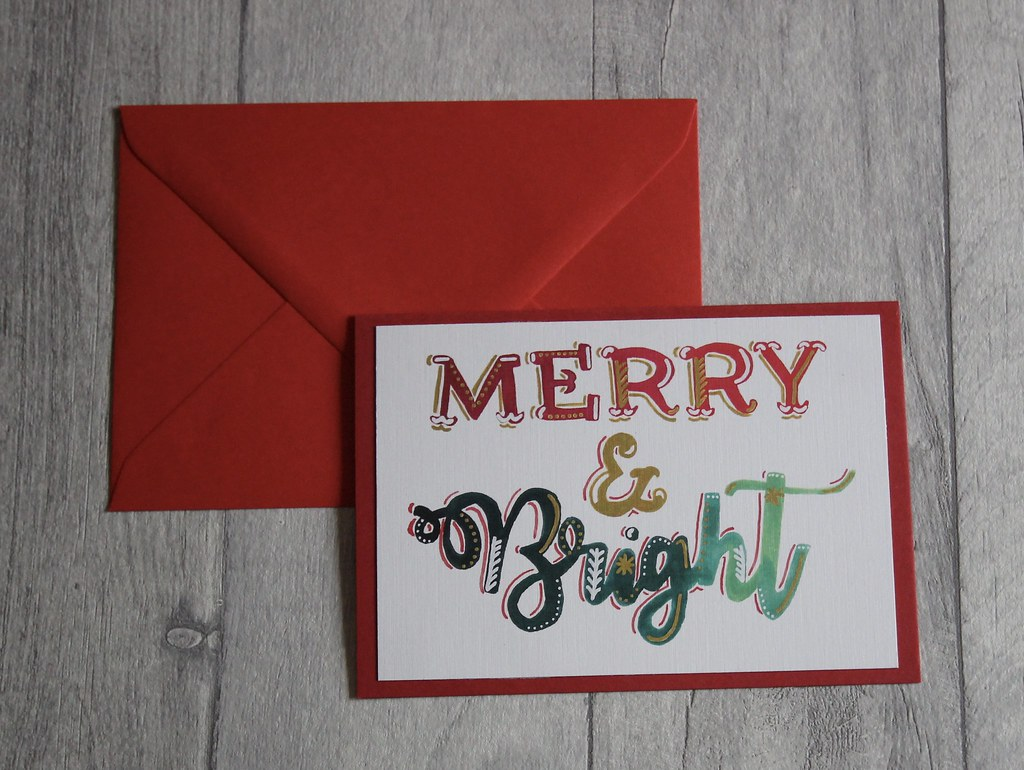 Merry and Bright handmade christmas cards bespoke design on Etsy