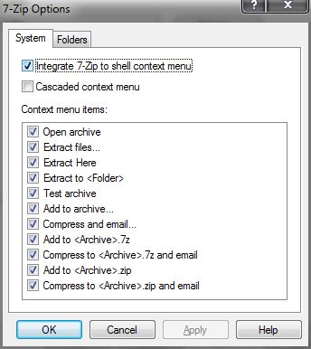 Integrate 7-zip to context shell menu