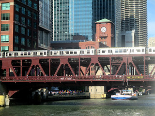 Chicago Architecture Foundation Boat Tour 69 - L train above Wells St | by worldtravelimages.net