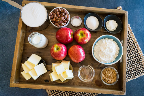 apples, hazelnuts, and a few pantry staples