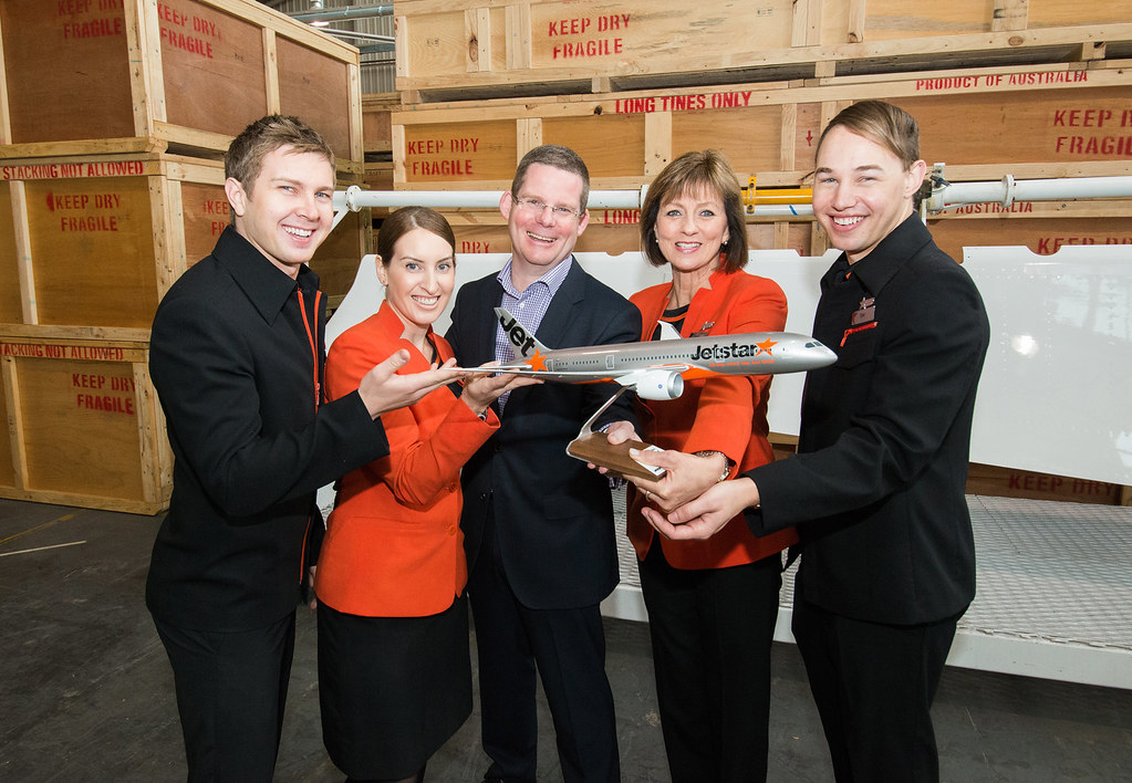 Jetstar & Boeing 787 event | Jetstar cabin crew (L-R) Guy ...