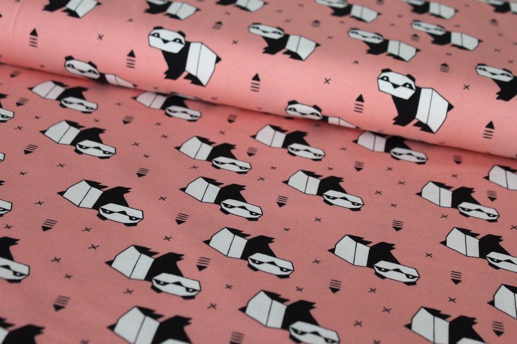"Baumwoll-Jersey ""Origami Panda"", pfirsich"