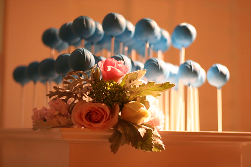 Blue Cake Pops with Drizzle on our White Stand | by Sweet Lauren Cakes