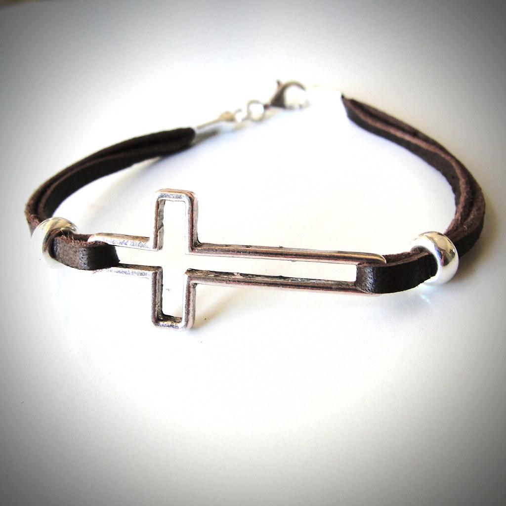 Sideways Cross Bracelet Leather Sideways Cross on Leather