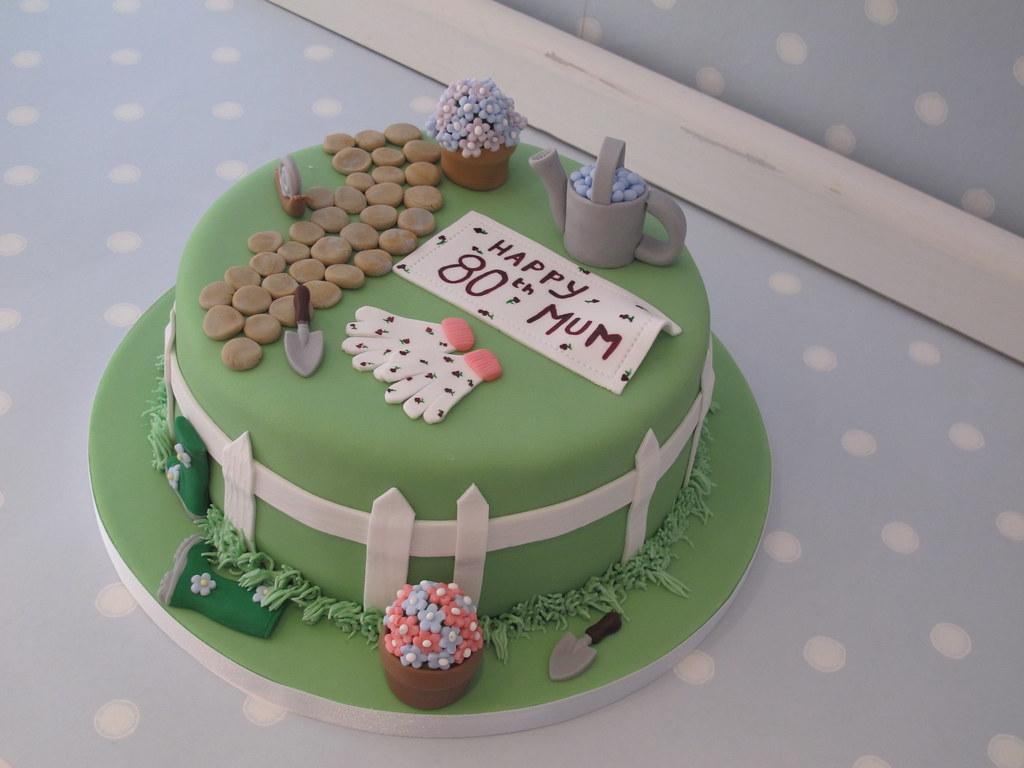 Garden themed cake for don 39 s mum 39 s 80th birthday www for Garden theme cake designs