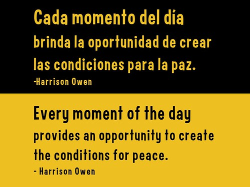 Every moment of the day provides an opportunity to create the conditions for Peace.