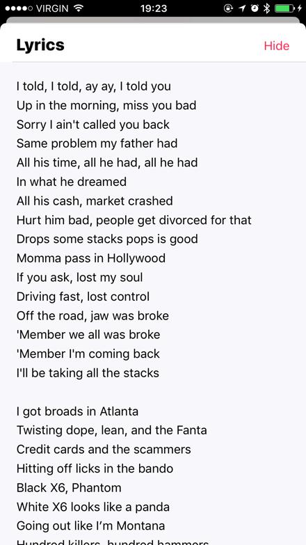 Lyrics in iOS 10