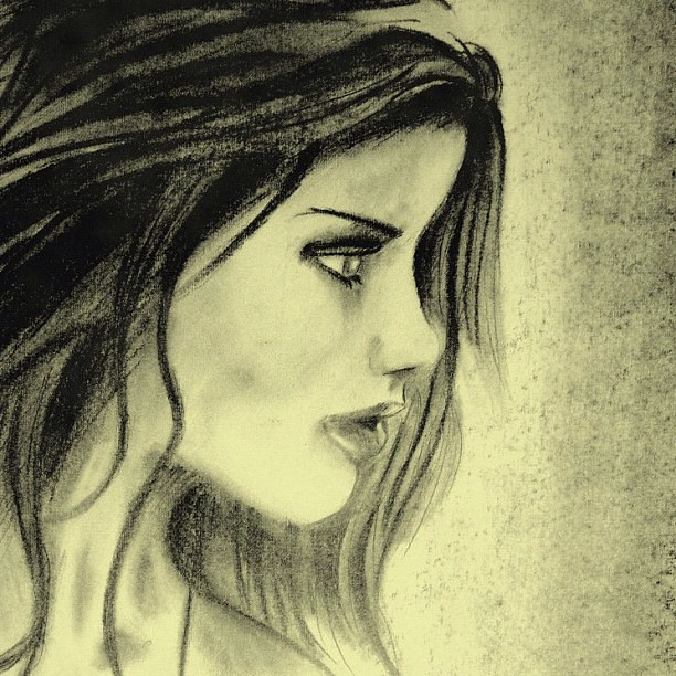 #pencil #drawing #girl #side #face
